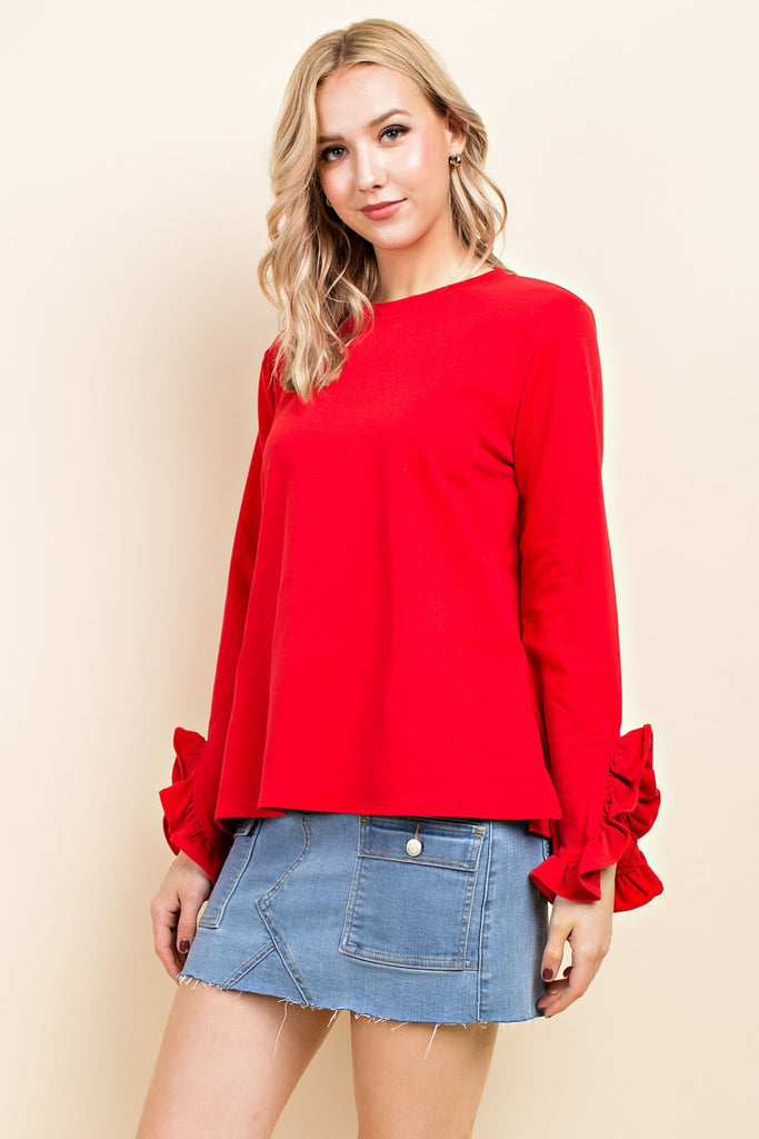 Red Frilly Detail Top