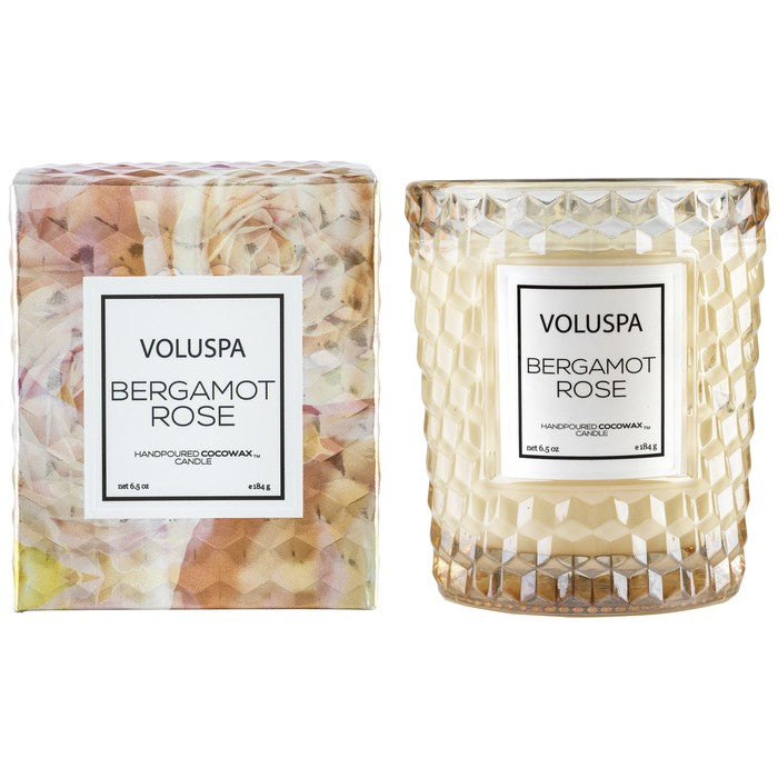 Voluspa Classic Textured Candle-Bergamot Rose