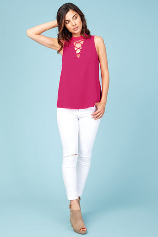 Berry Pink Cross Detail Top