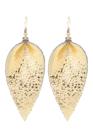 Gold Flash Leather Earrings