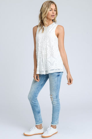 Lovely in Lace White Mock Neck Top