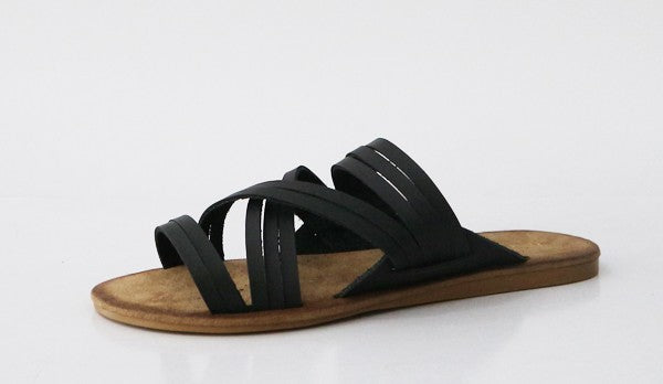 MeMe Black Slip On Sandal