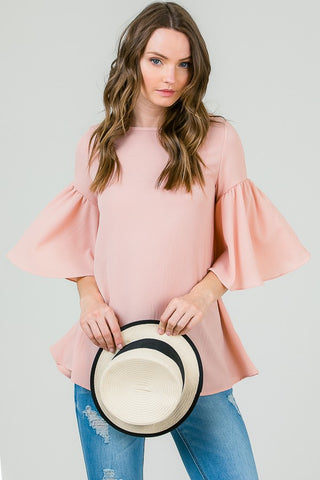 Blush Big Ruffle Sleeve Top