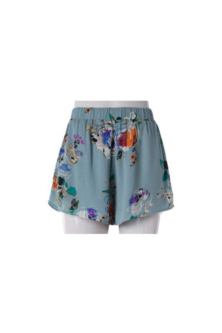 Dusty Slate Fun Floral Print Shorts
