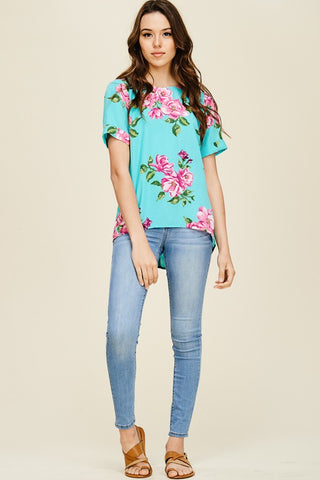 Cut Out Cutie Floral Boat Neck Top