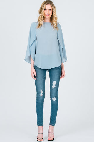Baby Blue Open Flutter Sleeve Top
