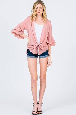 Blush Ruffle Sleeve Cardigan