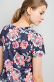 Cross My Heart Navy Floral Tee