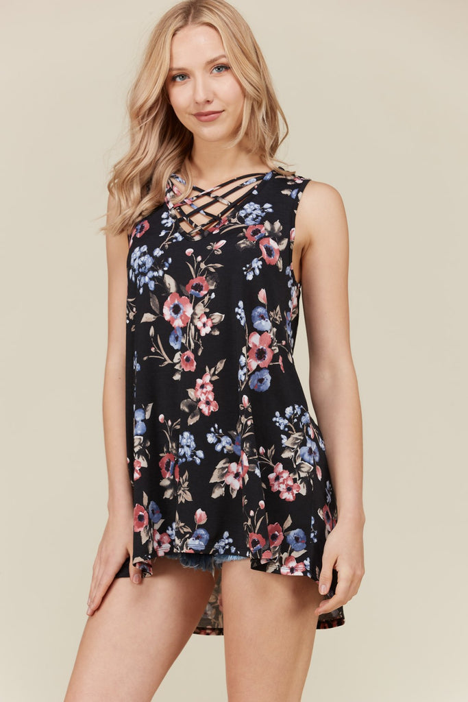 Black Floral Cross Detail Tunic