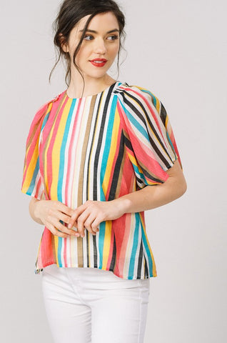 Tropical Stripe Butterfly Sleeve Top