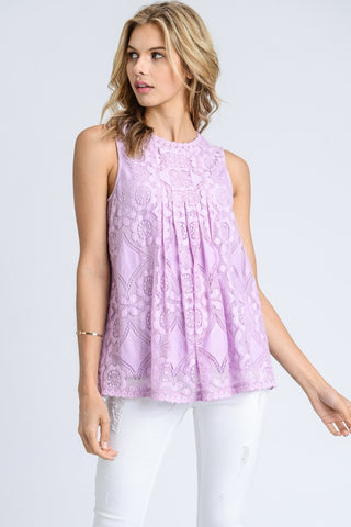 Lilac Lovely in Lace Mock Neck Tank