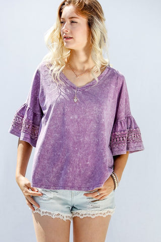 Acid Wash Flirty Sleeve Purple Top