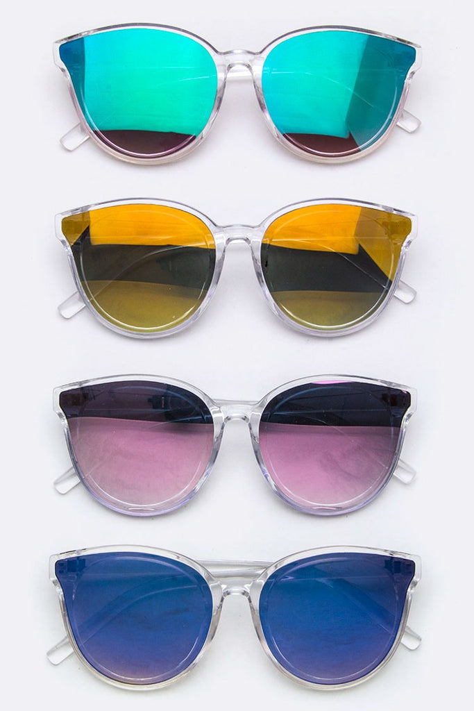 Clear Frame Reflector Sunglasses