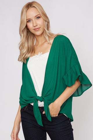 Green Ruffle Sleeve Cardigan