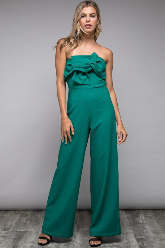 Fantastic and Frilly Dark Emerald Jumpsuit