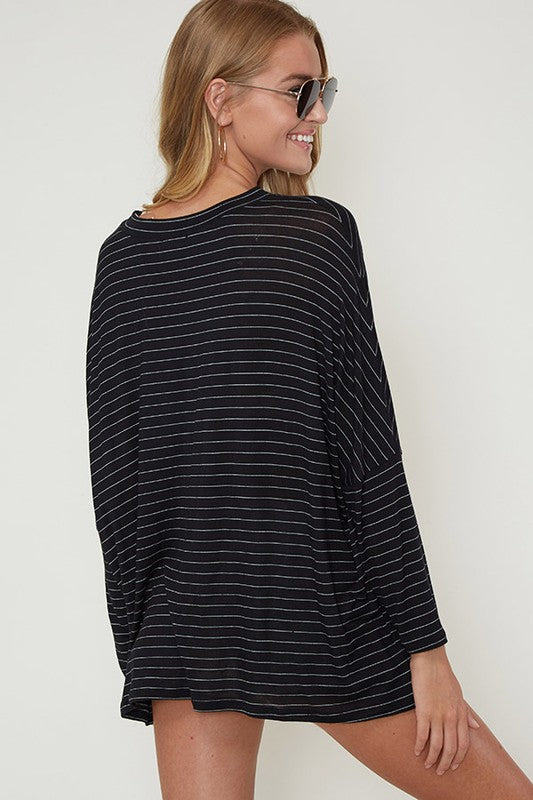 Black/Ivory Pin Stripe Keyhole Dolman Top