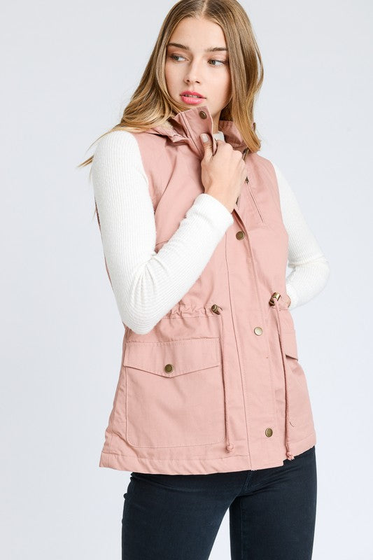 Light Mauve Front Button Fur Lined Utility Vest