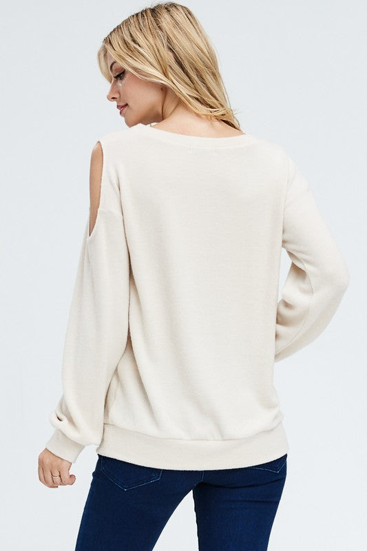 Beige Cut Out Detail Top
