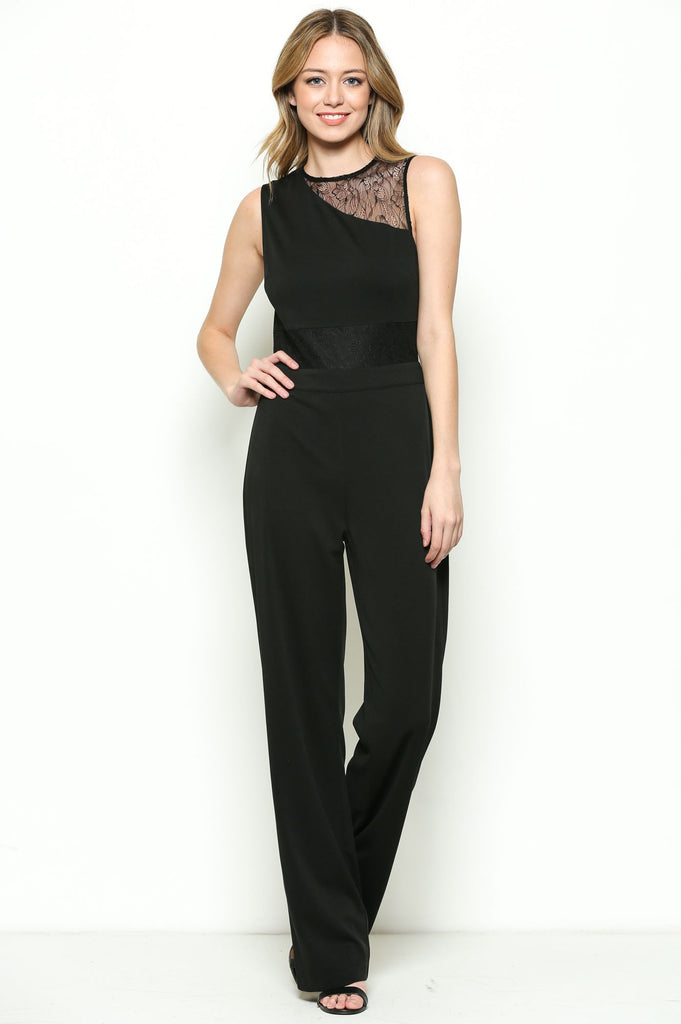 Black Sleeveless Lace Detail Jumpsuit