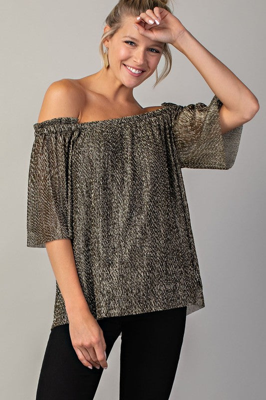 Black/Gold Shimmer Off the Shoulder Top