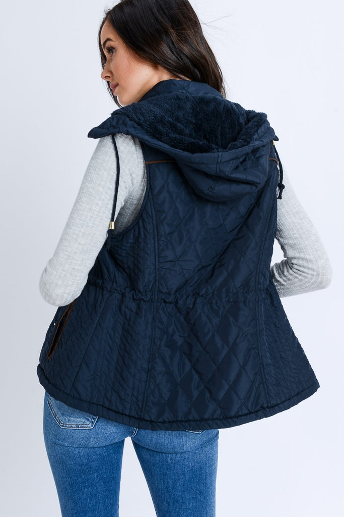 Navy Padded Fur Lined Vest