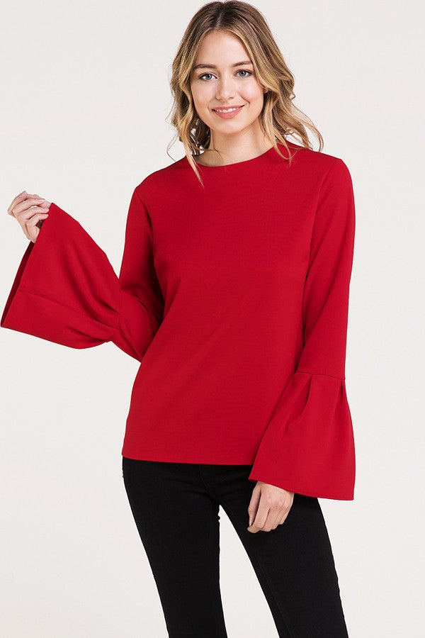 Red Long Bell Sleeve Top