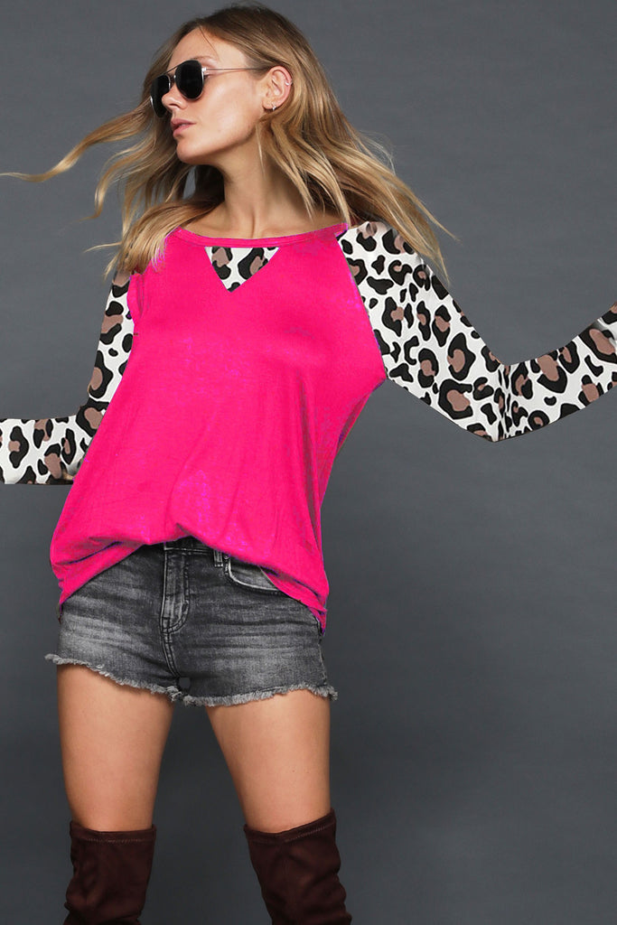 Wild About Leopard Hot Pink Top