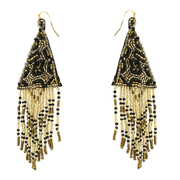 Leopard Beaded Tassel Earrings