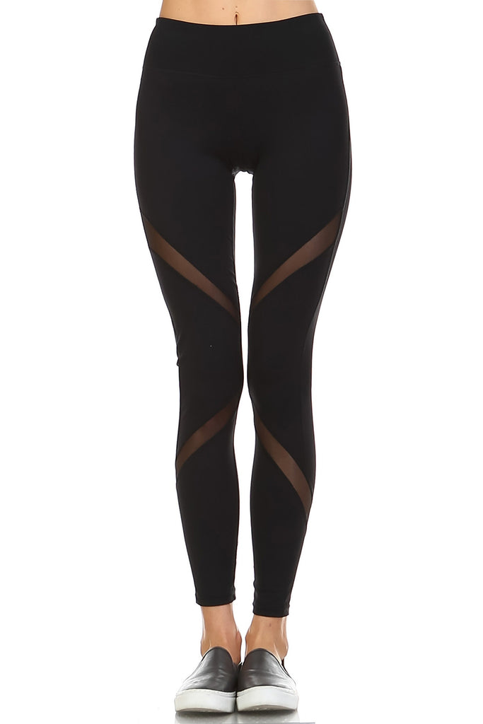 Black Sheer Ribbon Design Leggings