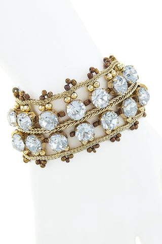 Two Row Gypsy Rhinestone Bracelet