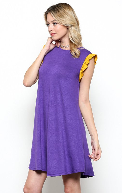 Purple/Gold Flutter Sleeve Dress