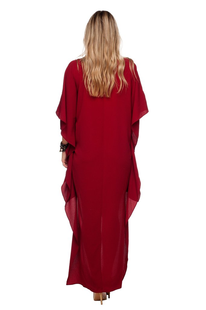 Wine Derby High Low Maxi Dress