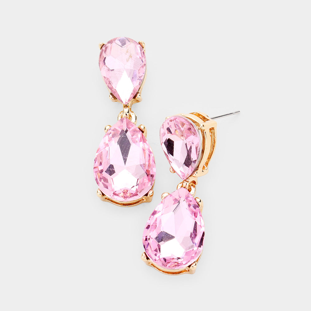 Baby Pink Duo Bling Earrings