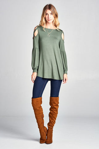 Olive Criss Cross Poppy Sleeve Top