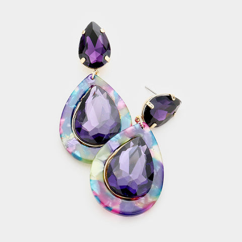 Purple Passion Rhinestone Earrings