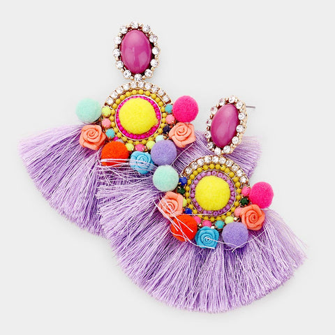Floral Frenzy Tassel Earrings