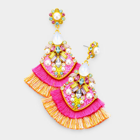 Fancy in Fringe Rhinestone Earrings