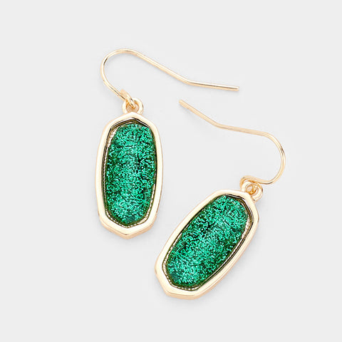 Emerald Glitter Drop Earrings
