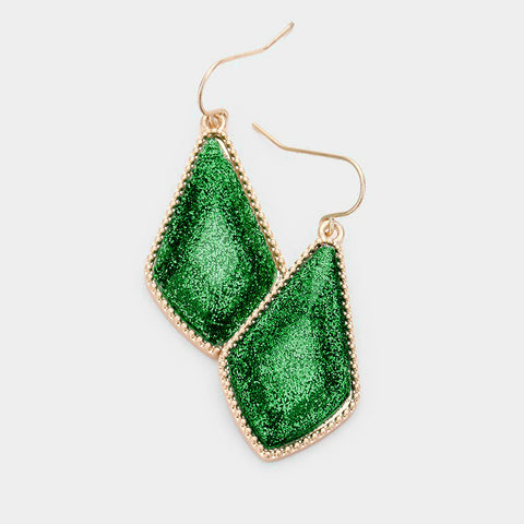 Geo Glitter Drop Earrings