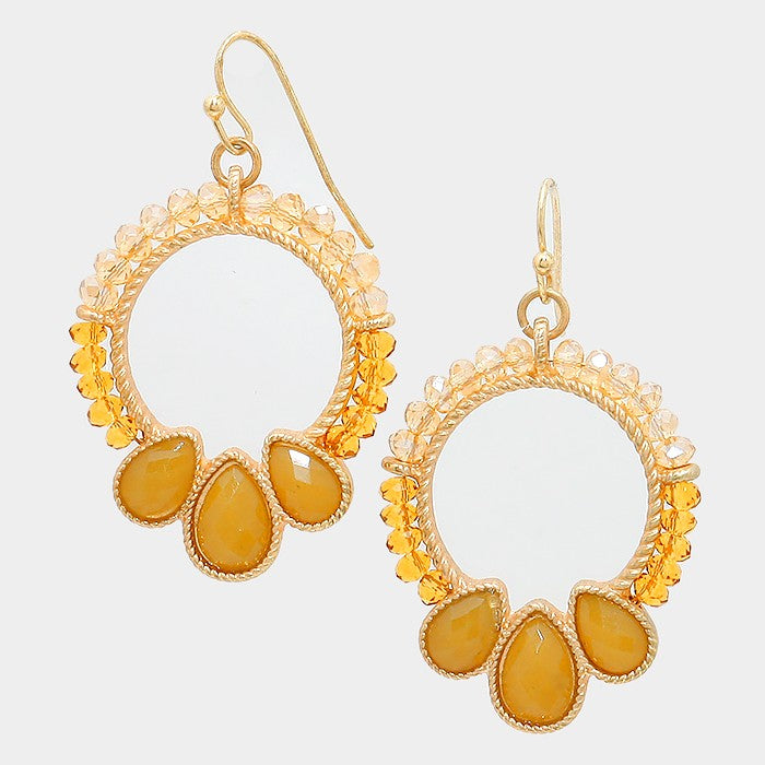 Yellow Gold Triple Teardrop Beaded Earrings