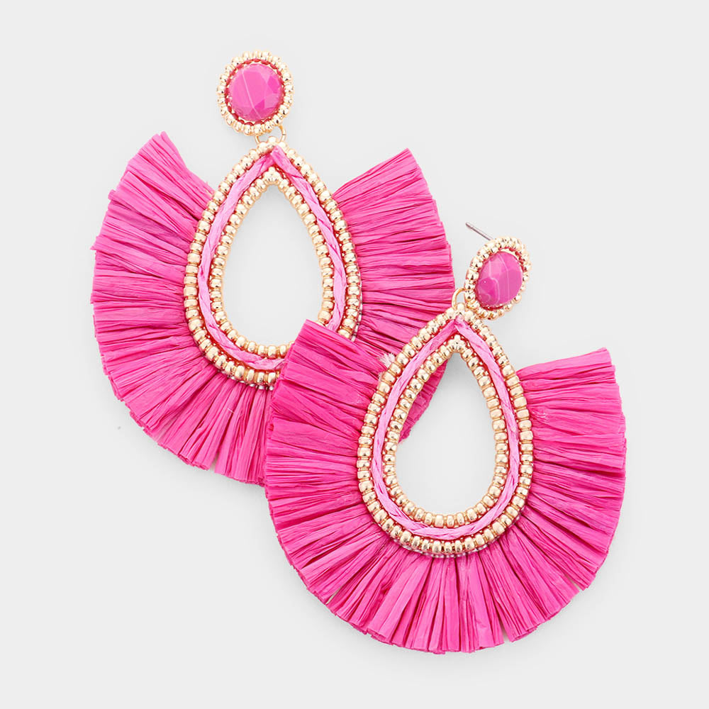 Teardrop Raffia Fringe Earrings