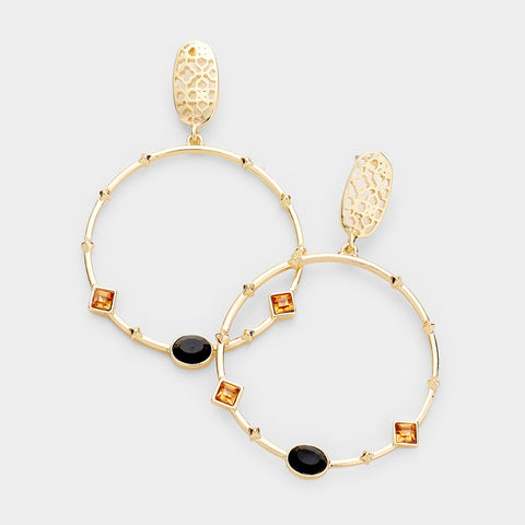 Filigree Drop Rhinestone Hoops
