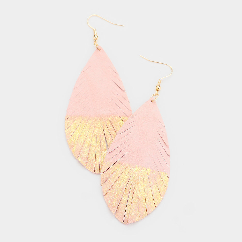 Gold Dipped Genuine Leather Earrings