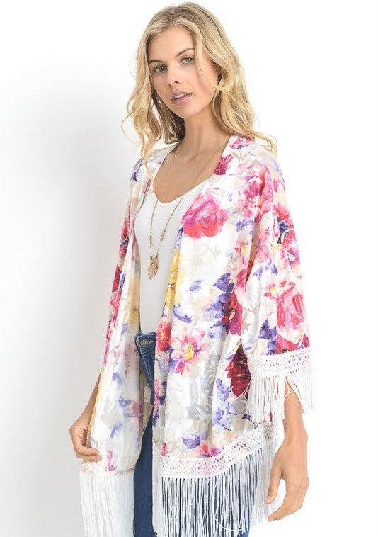 Sunshine and Plum Floral Fringe Cardigan