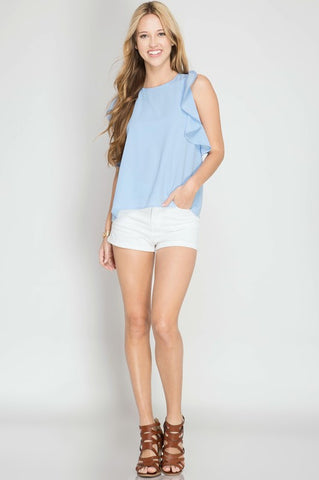Baby Blue Jolie Ruffle Top