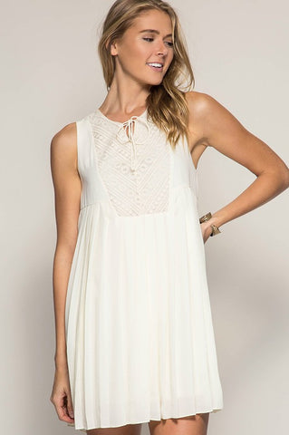 Cream Pleated Swing Dress