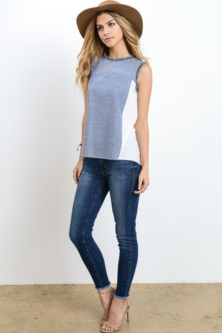 Chambray Frayed Sleeve Top