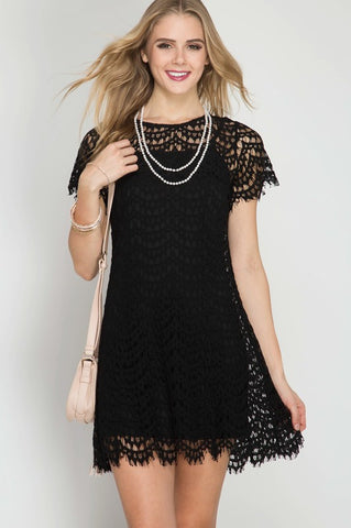 Black Scallop Hem Lace Dress