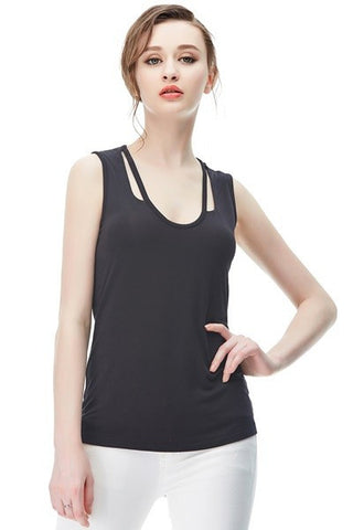 Black Cut Out Sleeveless Tank