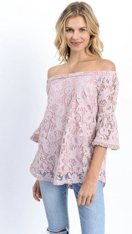 Mauve Lace Off The Shoulder Top